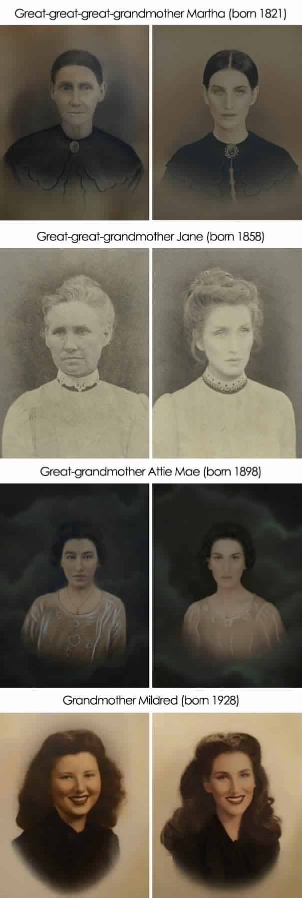 Recreated photos of grandparents that show the resemblance